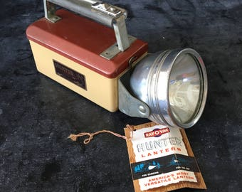 Hunter Lantern with original box~vintage mid century Ray-O-Vac~ rustic cabin fishing cottage decor from MilkweedVintageHome