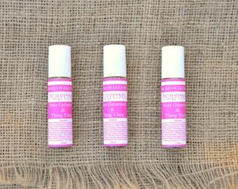 Organic Perfume Pulse Point Aromatherapy  'Rose Geranium & Ylang Ylang' Sweet Feminine Heady Aroma 10ml