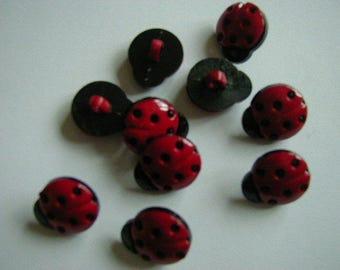 10 Red Ladybird Buttons