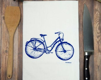 Blue Bicycle Tea Towel