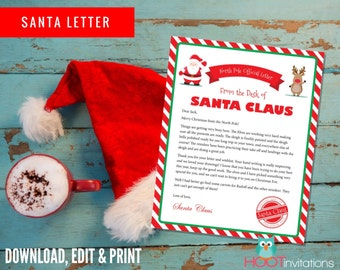 Letter from Santa, Christmas Letter, Santa Letter, Gift idea for Kids, Christmas Printables, Personalized letter from Santa Claus DOWNLOAD