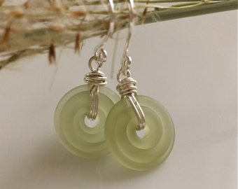 Sea Foam Green Glass Earrings / Matte Glass / Small Dangle Earrings /  Glass Discs /  Light Green Earrings / Sterling Silver Earrings