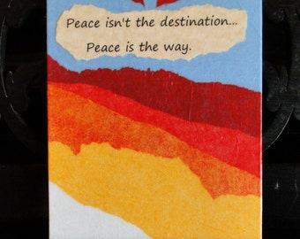Abstract Mixed Media Paper Collage Art, Original Art, 5 x 7 Unframed Art, Peace is the Way, Home Decor