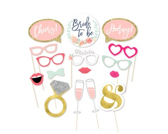 Bachelorette Party Decorations Photo Booth Props - Bridal Photo Booth Props - Printable Bachelorette - Bachelorette Party - Blush Gold Pink