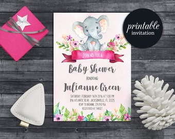 Elephant baby shower invitation Girl Floral baby shower invitation Pink Jungle Baby Shower Invitation safari baby shower invitation digital
