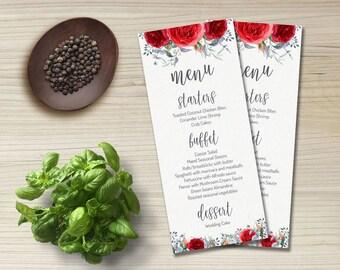 Wedding Menu Card Floral Wedding Menu Card, Printable Wedding Menu, Roses Wedding Menu, Gray Red Menu Wedding, Printable Menu Cards