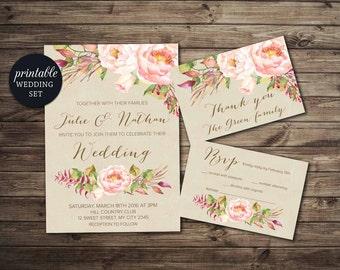 Floral Wedding Invitation, Blush Wedding Invitation Boho Printable Wedding Invitation Suite, Spring Summer Wedding Invitation Peony Invite