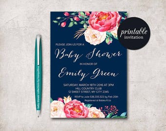 Floral Baby Shower Invitation Girl, Printable Baby Shower Invitation, Girl Baby Shower Invitation, Modern Pink Navy Boho Baby Shower Invite
