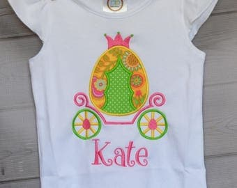 Personalized Easter Egg Princess Carriage Applique Shirt or Onesie Girl or Boy