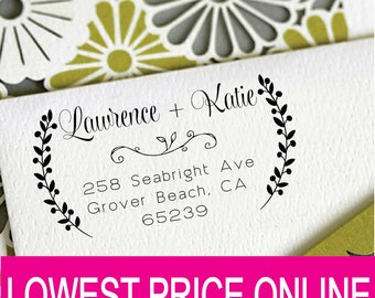 Floral Personalized Custom Name Return Address Stamp Wedding Gift Handle Mounted Rubber Stamp Or Pre-inked Stamp Self inking Stamp RE909