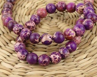 Purple Variscite beads • 8 mm Variscite beads • Natural gemstone beads • Gemstone mala beads • Variscite round beads • Mala stone beads