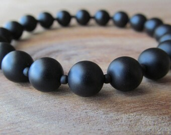 Mens Matte Black Onyx Bracelet, Stacking Bracelet, Men's Bracelet, Mala Bracelet, Layering Bracelet, Matte Black Onyx, Men's Jewelry
