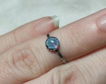 Tiny Opal Ring | Sterling Silver Ring Sz 6 | Opal Triplet Ring | Opal Jewelry | Boho Opal Ring | Australian Opal Ring | Opal Midi Ring