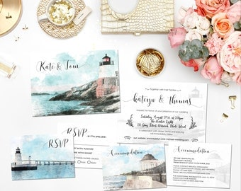 Digital Printable Invitations Destination Wedding Lighthouse NEWPORT RI Watercolor Invitation Set Save The Date Map