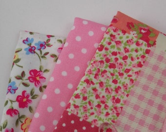 """Fabric fat quarter pink mix of cotton in 3 colours Laura-Ashley-like flower pattern pink with white polka dots and squares 18"""" x 22"""" inches"""
