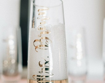 Personalized Champagne flute, Bridesmaid gift, Matron of honor, wedding party, Bridal Party, Bridesmaid, Wedding, celebrate