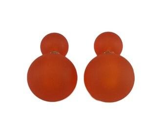 Murano glass double beads earrings, double sided earrings, glass jewelry, surgical steel