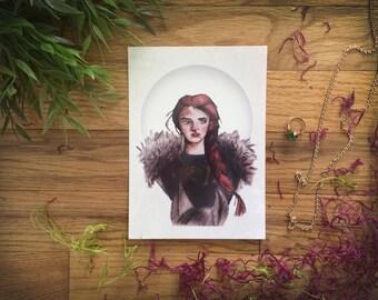 "Sansa Stark Art Print - Watercolor and Digital Illustration, 5x7"" | House Stark, Game of Thrones Art"