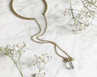 UNDER MY SKIN - choker brass necklace - long chain necklace - raw quartz pendant - stone jewelry - crystal quartz point - boho jewelry