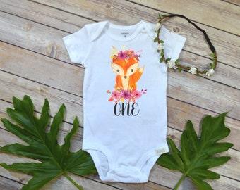 First Birthday Girl, Woodland Floral Fox, Baby Birthday shirt, Woodland Party, Woodland Birthday, Girl Birthday shirt, Wild One party, Fox