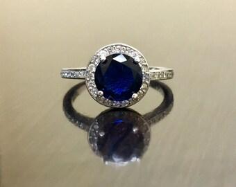Halo Diamond Platinum Sapphire Engagement Ring - Halo Sapphire Diamond Wedding Ring - Sapphire Platinum Ring - Blue Sapphire Diamond Ring