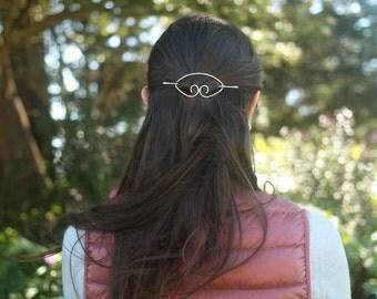 Textured copper hair barrette brass hair slide silver hair clip rustic shawl pin scarf pin brooch simple minimalist hair accessories for her