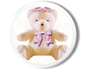 Sweet Pink Bow Teddy Bear Dresser Knob - Baby Nursery, Pink, Shower Gift, Stuffed Animal - Drawer Pull, Closet Knob, Cabinet Door - 1214CCC
