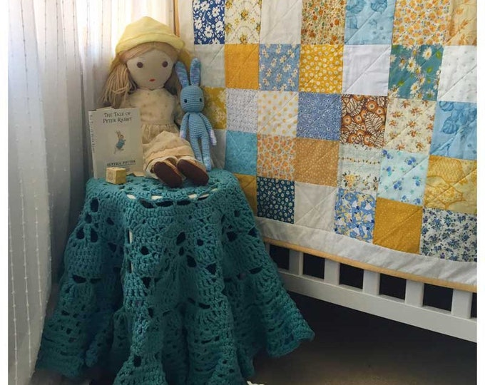 Blue White & Yellow Patchwork Play Mat Nursery Decor