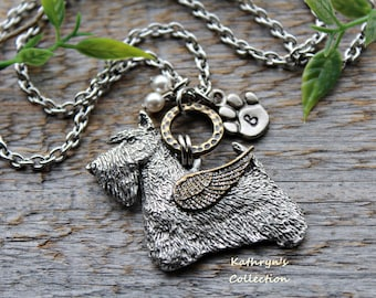 Scottie Angel Necklace, Scottish Terrier Jewelry, Scottie Mom, Pet Memorial Jewelry, Scotty Sympathy