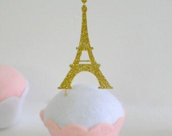 Eiffel Tower cupcake toppers, Paris cupcake toppers, France Cupcake toppers (12 toppers)