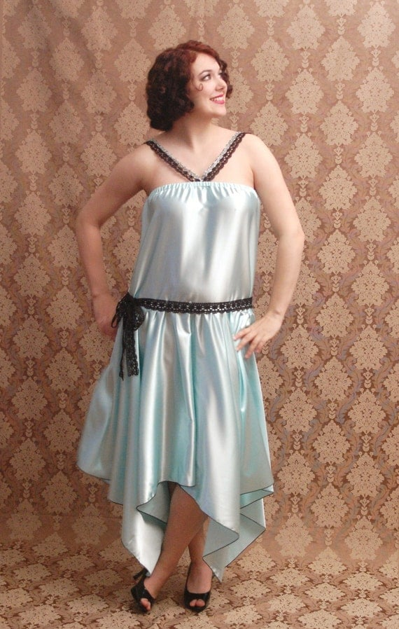 1920s Style Dresses Plus Size Blue Flapper 1920s Dresses $76.30 AT vintagedancer.com