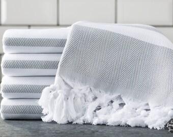 Spa Towel, Cotton Turkish Towel, Gray, Bath Towel, Sauna Towel, Beach Towel, Peshtemal