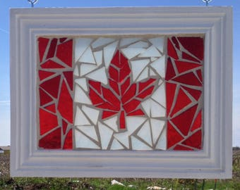 Canadian Flag Stained Glass Mosaic Suncatcher - Red Maple Leaf Stained Glass Canada Flag - Canada Day - Canada 150 - Canadian Flag Mosaic