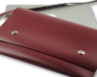 Smooth leather bag / macbook bag with straps \ MAROON