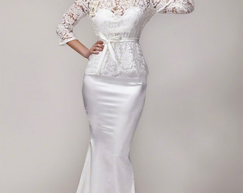 White Lace Prom Dress with Short Train - Long Sleeve Maxi Dress - Mermaid Prom Dress - Evening Dress - Elegant Lace Dress - B107