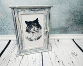 Black and white cats wooden key box cabinet shabby chic cat lover gift idea wall decor hand painted key hanger hook home decor