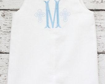 White Linen Monogrammed Jon Jon, Linen Jon Jon, Easter Shortall, Cross Monogrammed Jon Jon