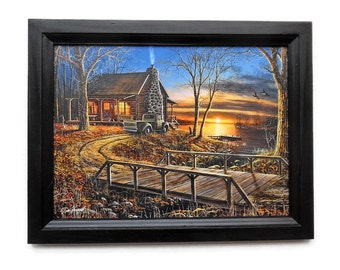 Cabin Picture, Simpler Times, Jim Hansel Print, Rustic Decor, Wall Hanging, Art Print, Handmade, 19X15, Custom Wood Frame, Made in the USA