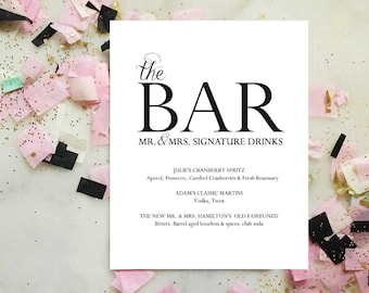 Mr and Mrs Signature Drink Menu, PDF Instant Download, Wedding Drink Menu, Wedding Sign, The Bar Menu, Wedding Bar Menu Printable, Template