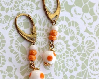 Cute polka dot vintage earrings