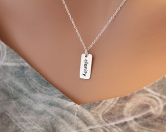 Sterling Silver Clarity Charm Necklace, Clarity Word Pendant Necklace, Clarity Necklace, Clarity Pendant Necklace, Silver Clarity Word