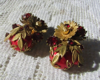 Vintage RED Haskell style flower and leaf rhinestone clip on  earrings