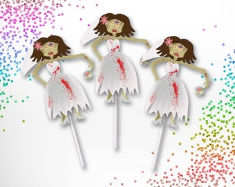 Zombie Bride Cupcake Toppers (12 count)