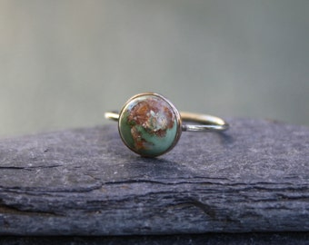 Victorian Turquoise Ring Converted from a Stickpin 9k Yellow Gold - JL690