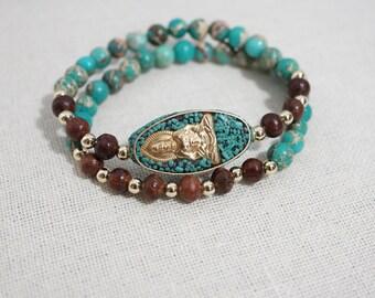 Turquoise Jasper and Wood Buddha Bracelet Set