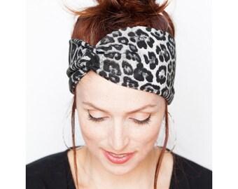Leopard Headband - Twist Headband Leopard Knit Headband Head Wrap Womens Headband Hair Accessories Leopard Turban Vegan Knit Animal Prints