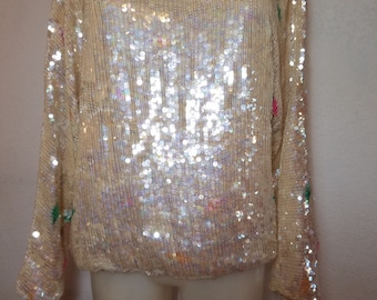 FREE  SHIPPING   Iridescent  Sequin  Blouse