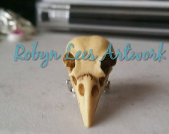 3D Antiqued Resin Raven Crow Bird Skull Brooch Pin. Victorian Gothic Costume, Steampunk, Anatomy, Anatomical
