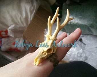 Large 3D Deer Stag Skull with Antlers Adjustable Filigree Bronze Ring. Gothic Anatomy, Victorian Anatomical, Steampunk Costume, Horror