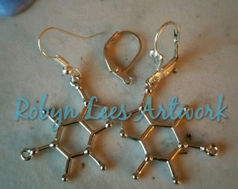 Silver Caffeine Molecule Earrings on Silver Hooks, Leverbacks or Scalloped Leverback. Molecular Coffee, Anatomy, Anatomical, Chemistry